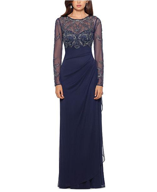 XSCAPE Petite Illusion Lace Gown