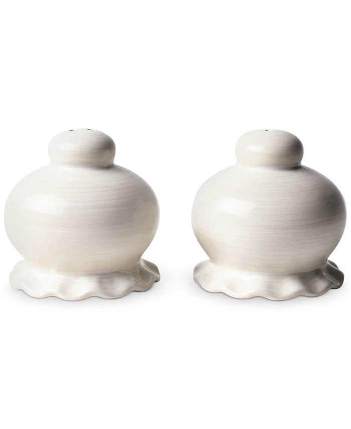 Coton Colors - Signature White Ruffle Salt and Pepper Shaker Set