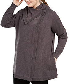 Ideology Plus Size Snap-Front Wrap Tunic Sweater, Created For Macy's