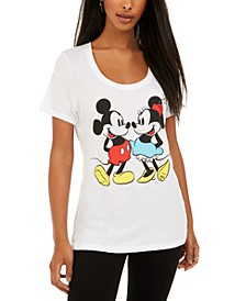 Juniors' Mickey & Minnie Mouse Graphic-Print T-Shirt