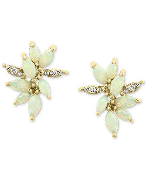 EFFY Collection EFFY® Opal (1-3/8 ct. t.w.) & Diamond (1/10 ct. t.w.) Stud Earrings in 14k Gold