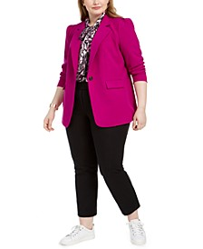 Trendy Plus Size Notch-Collar Jacket, Animal-Print Blouse & Ankle Pants, Created For Macy's