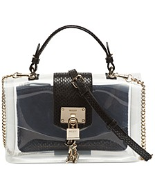 Elissa Clear Leather Top-Handle Flap Shoulder Bag