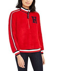 Striped-Trim Sherpa Pullover