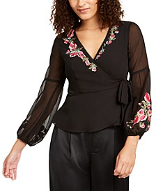 Rosie Embroidered Wrap Top, Created For Macy's