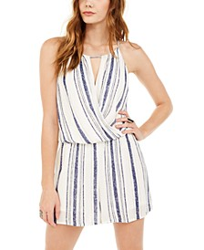 Juniors' Striped Surplice Romper