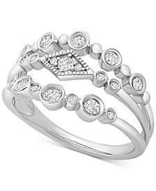Diamond Multi-Row Bezel Ring (1/3 ct. t.w.) in 14k White Gold, Created for Macy's