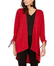 Petite Drawstring-Sleeve High-Low Sweater