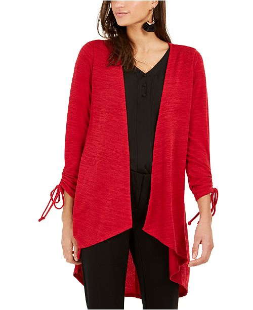NY Collection Petite Drawstring-Sleeve High-Low Sweater