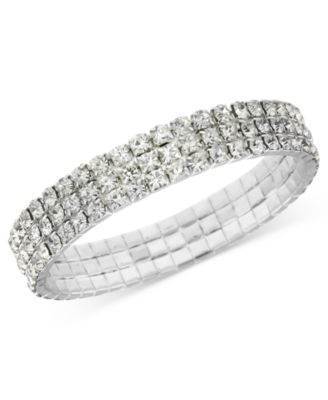 Image of 2028 Bracelet, a Macy's Exclusive Style, Silver-Tone Clear Crystal Stretch Bracelet, a Macy's Exclus
