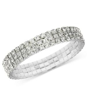 Vintage Style Jewelry, Retro Jewelry 2028 Bracelet Silver-Tone Clear Crystal Stretch Bracelet $24.00 AT vintagedancer.com