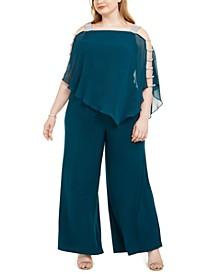 Plus Size Embellished Cape-Overlay Jumpsuit