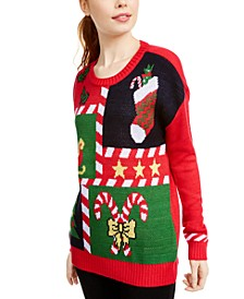 Juniors' Candy Cane Sweater