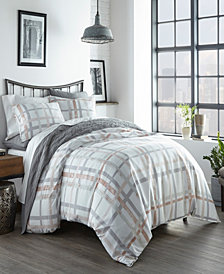 City Scene Atlas Plaid King Duvet Cover Set