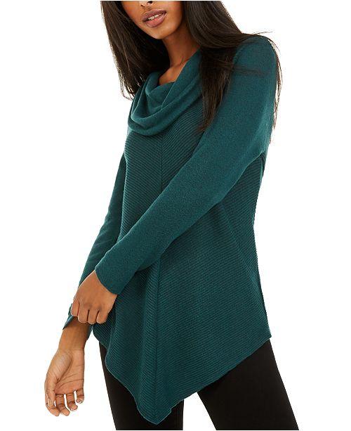 BCX Juniors' Textured Cowlneck V-Hem Sweater