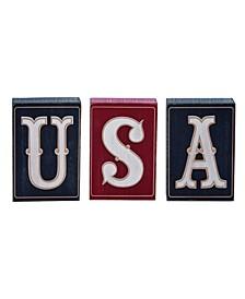 4th of July USA Block Decor - Set of 3
