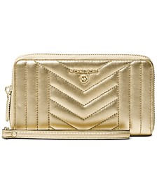 Jet Set Charm Metallic Leather Wallet