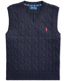Toddler Boys Cable-Knit Cotton V-Neck Sweater Vest