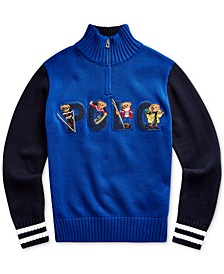 Big Boys Bear Cotton Half-Zip Sweater
