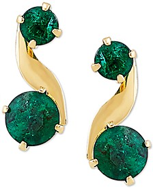 Emerald Swirl Drop Earrings (3/4 ct. t.w.) in 10k Gold