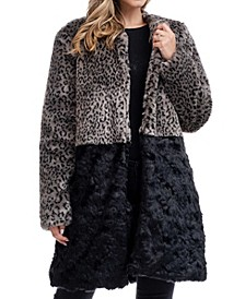 Blocked Faux Fur Coat