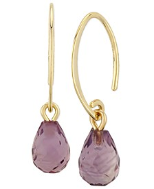 Gemstone Briolette Drop Earring in 14k Yellow Gold Available in Amethyst, Garnet, Citrine, Blue Topaz and Peridot