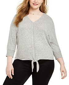Plus Size Tie-Hem Sweater, Created For Macy's