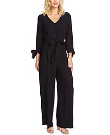 Tie-Sleeve Fit & Flare Crepe Jumpsuit