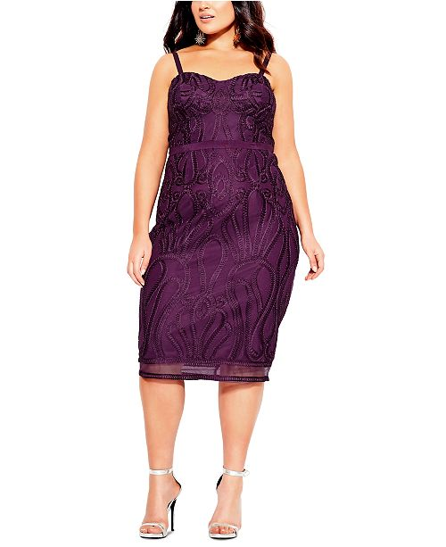 City Chic Trendy Plus Size Embroidered Strapless Dress