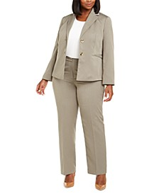 Plus Size Straight-Leg Tonal-Striped Pants Suit