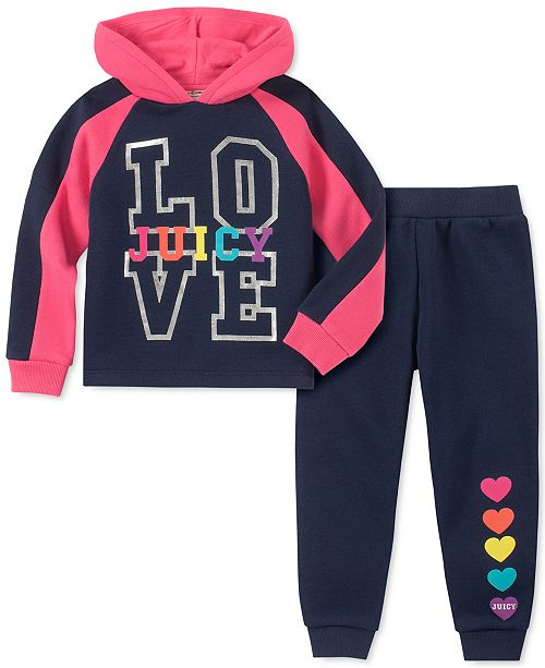 Juicy Couture Toddler Girls 2-Pc. Love Hoodie & Jogger Pants Set