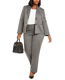 Plus Size Herringbone-Print Pants Suit
