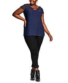 Trendy Plus Size Lace Touch Top
