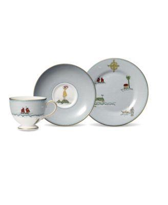 """Sailors Farewell 3-Piece Tea Set (Teacup, Saucer & Salad Plate 8"""")"""