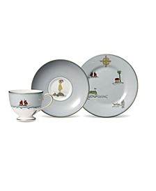 "Sailors Farewell 3-Piece Tea Set (Teacup, Saucer & Salad Plate 8"")"