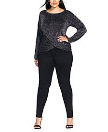 Trendy Plus Size Metallic Knot Sweater
