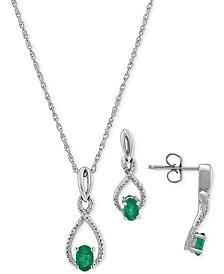 2-Pc. Set Emerald (7/8 ct. t.w.) & Diamond (1/20 ct. t.w.) Pendant Neckalce & Matching Drop Earrings in Sterling Silver (Also in Sapphire)