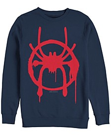 Men's Spider-Man Into the Spider-Verse Miles Morales Chest Logo, Crewneck Fleece