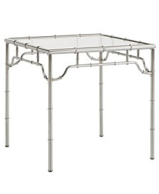 Gennadi Metal End Table with Glass Top