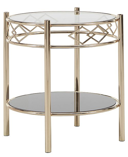 iNSPIRE Q Metropolitan 2-Piece Tempered Glass Metal Occasional Table Set