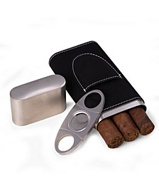 Leather 3 Cigar Case with Cigar Cutter