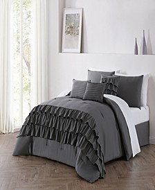 Reese 6pc Queen Size Tiered Ruffle Comforter Set