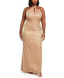 Trendy Plus Size Metallic Halter Gown
