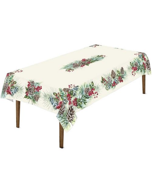 """Laural Home Winter Garland Tablecloth - 70""""x 144"""""""