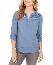 Petite Floral Embroidered Cotton Top, Created For Macy's