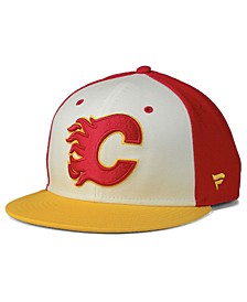 Calgary Flames Tri-Color Throwback Snapback Cap