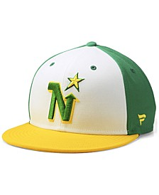 Minnesota North Stars Tri-Color Throwback Snapback Cap
