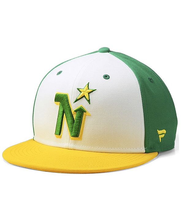 Authentic NHL Headwear Minnesota North Stars Tri-Color Throwback Snapback Cap