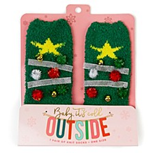 Women's Christmas Tree Fuzzy Socks, Online Only