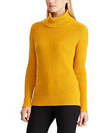 Waffle-Knit Turtleneck Sweater